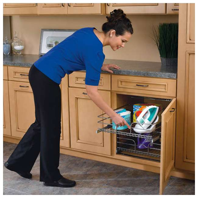 """5WB2-1222-CR Rev-A-Shelf 12"""" Wide 22"""" Deep Base Kitchen Cabinet 2 Tier Pull Out Wire Basket 10"""