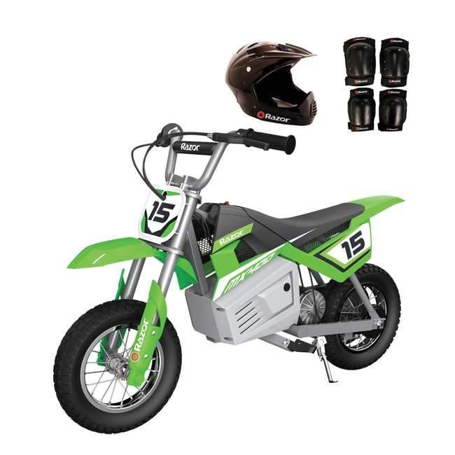 15128030 + 97775 + 96785 Razor Dirt Rocket MX400 Electric Moto Bike with Helmet, Elbow & Knee Pads