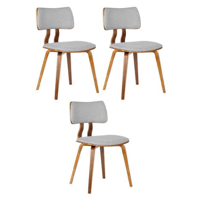 3 x LCJASIWAGRAY Armen Living Jaguar Mid Century Walnut Wood Dining Chair, Gray (3 Pack)