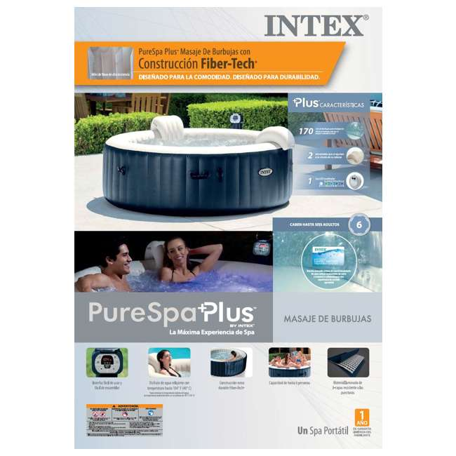 28409E + 6 x 29001E Intex Pure Spa 6-Person Hot Tub with 12 Type S1 Pool Filters 7