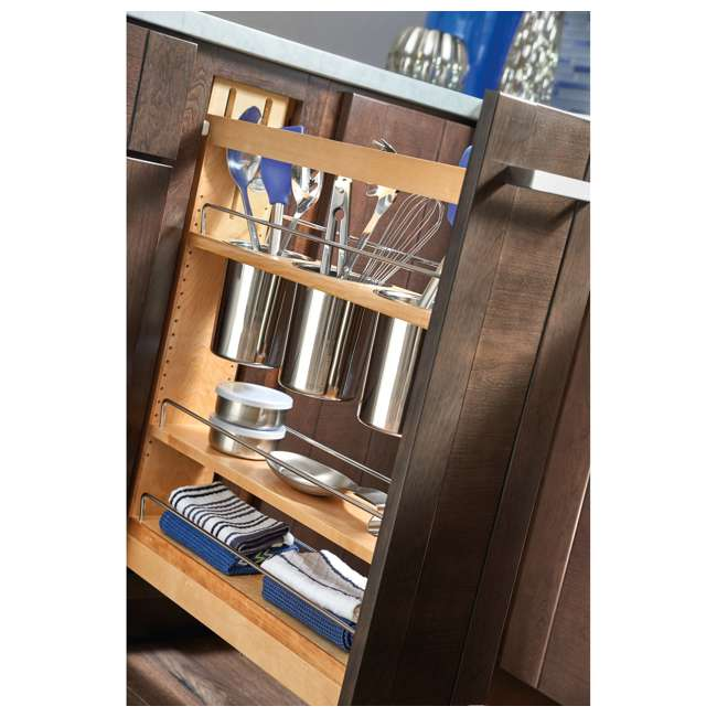 "448UT-BCSC-5C-24 Rev-A-Shelf 448UT-BCSC-5C 5"" Shelved Kitchen Utensil Pull Out Cabinet Organizer 4"