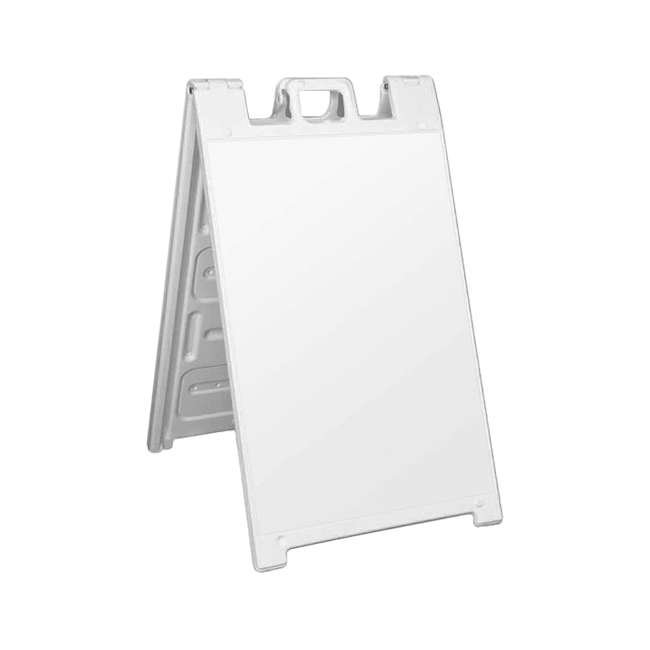 4 x 130NS-U-A Plasticade Portable Folding Sidewalk Double Sided Sign, White (Open Box)(4 Pack) 1