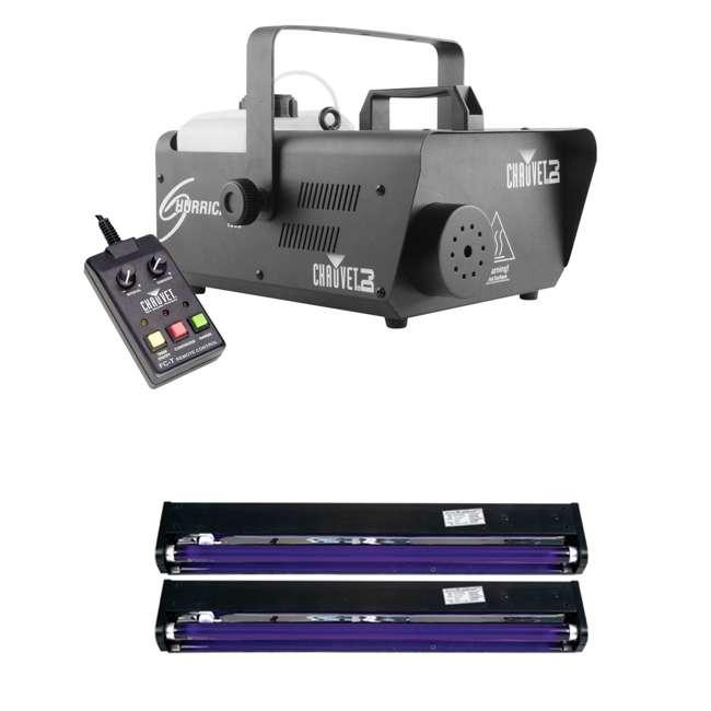 H1600 + 2 x BLACK-24BLB Chauvet DJ Hurricane Fog Machine & 2 Pack American DJ Black Light Tube Fixture