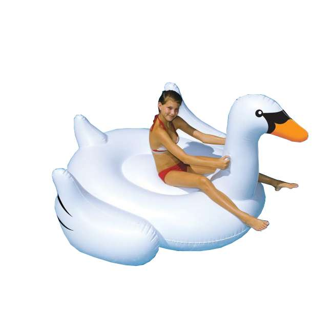 90621 Swimline Giant Inflatable Ride-On Swan Float 2