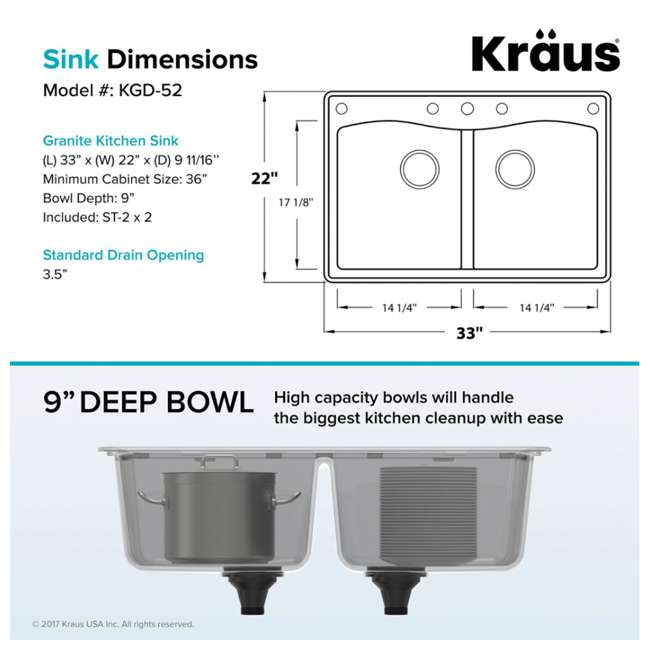 KGD-52GREY Kraus Forteza Dual-Mount Granite Kitchen Sink (2 Pack) 7