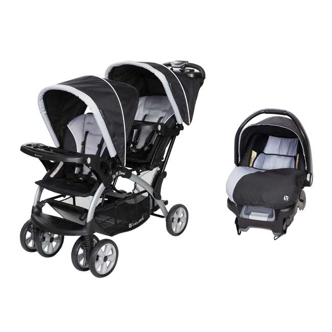 SS76B51A + CS79B51A Baby Trend Sit N Stand Tandem Stroller + Infant Car Seat Travel System, Stormy