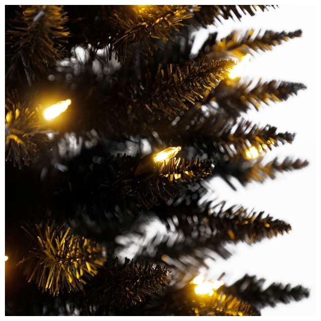 TV70CZ046L05 Home Heritage 7 Foot Pencil Artificial Tree with Warm White LED Lights, Black 1