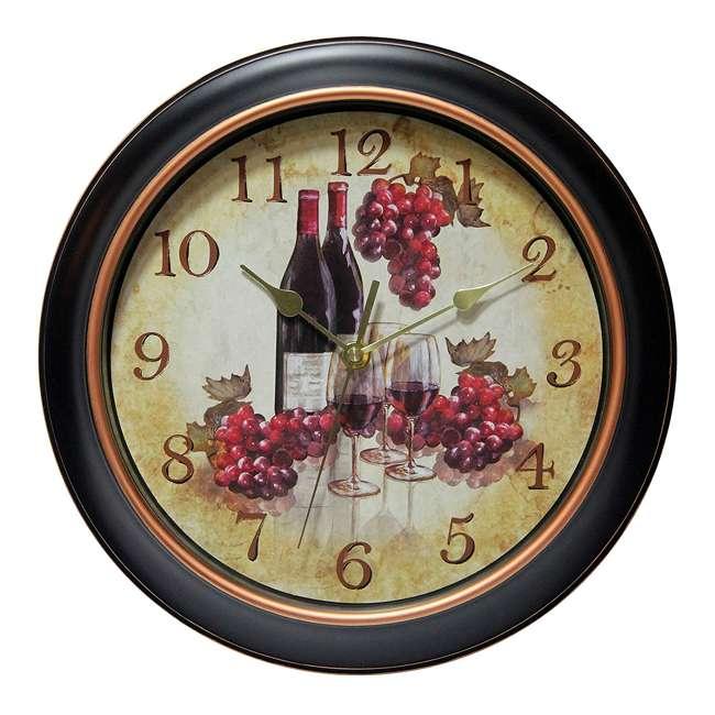 14877BG-3967 Infinity Instruments Quartz Movement Pinot Wine Grapes 12-Inch Metal Wall Clock