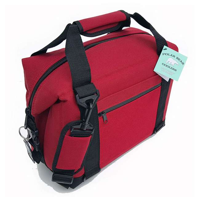 PB 123 Polar Bear Coolers 12 Pack Light Nylon Soft Cooler with Strap, Red