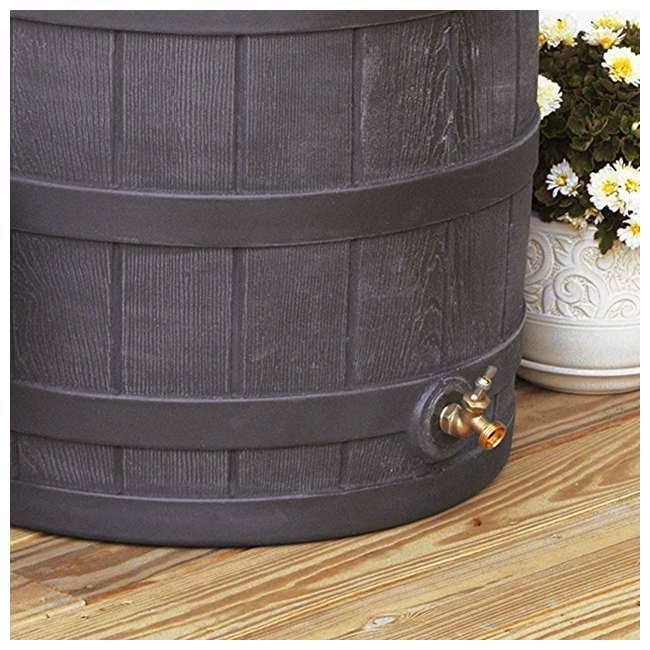RW50-OAK-U-A Good Ideas 50 Gallon Rainwater Collection Barrel Drum, Oak (OpenBox) (2 Pack) 6