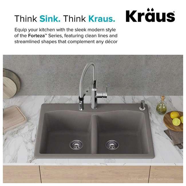 KGD-52GREY Kraus Forteza Dual-Mount Granite Kitchen Sink (2 Pack) 3