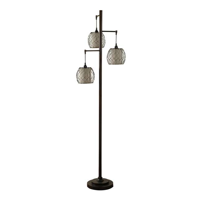 SC-L72385 Abode 84 Clifton Mid-Modern Bronze Floor Lamp with Caged Shades