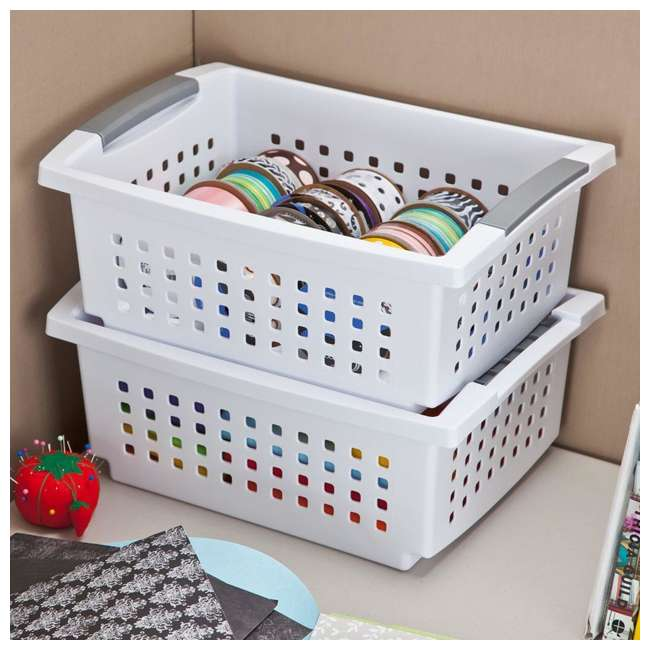 24 x 16628006-U-A Sterilite Medium Sized White Storage & Organization Basket (24 Pack) (Open Box) 1