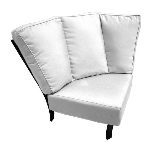 4445400-01-6111-05 Meadowcraft 4445400-01 Maddux Corner Outdoor Patio Seating Sectional Unit, White