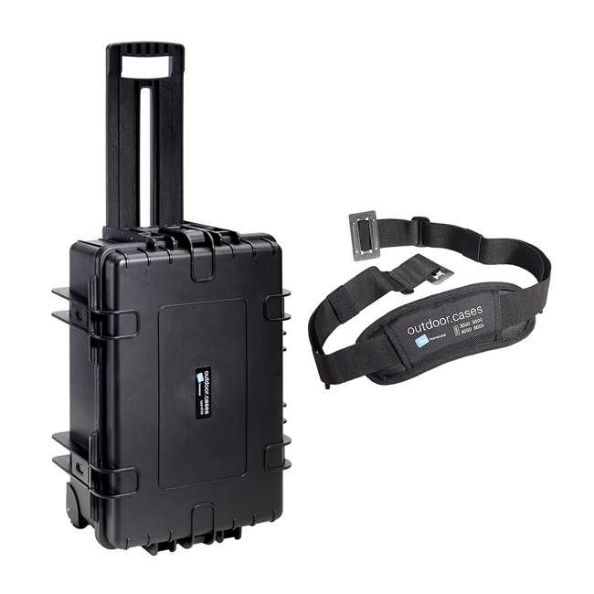 6700/B/RPD + CS/3000 B&W 42.8L Plastic Waterproof Case w/ Wheels, RPD Insert & Shoulder Strap, Black 6