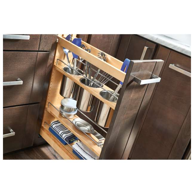 "448UT-BCSC-5C-24 Rev-A-Shelf 448UT-BCSC-5C 5"" Shelved Kitchen Utensil Pull Out Cabinet Organizer 3"