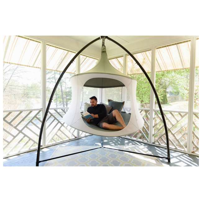 TP1500SB + TP9150 TreePod Cabana 5-Foot Hanging Mesh Daybed with Canopy, Slate Blue w/Bug Net 4