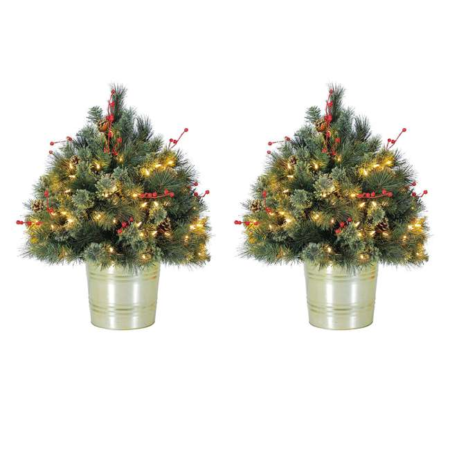 TV22M3M26L02 Home Heritage 26 Inch Artificial Holiday Shrub with LED Lights (2 Pack)