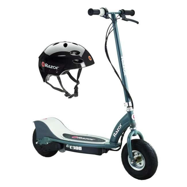 13113614 + 97778 Razor E300 Electric Scooter (Grey) & Youth Sport Helmet (Black)