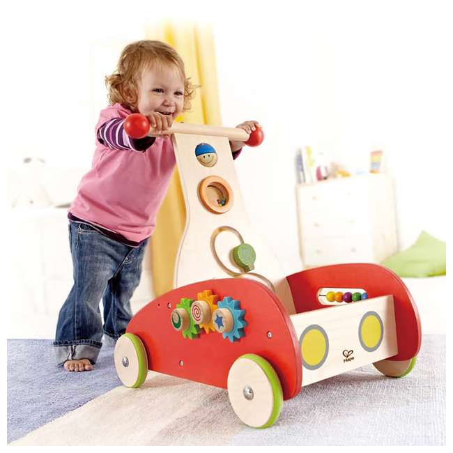 HAP-E0370-U-A Hape Toys Toddler Baby Push & Pull Toy Wonder Walker Cart with Wooden Blocks (Open Box) 3