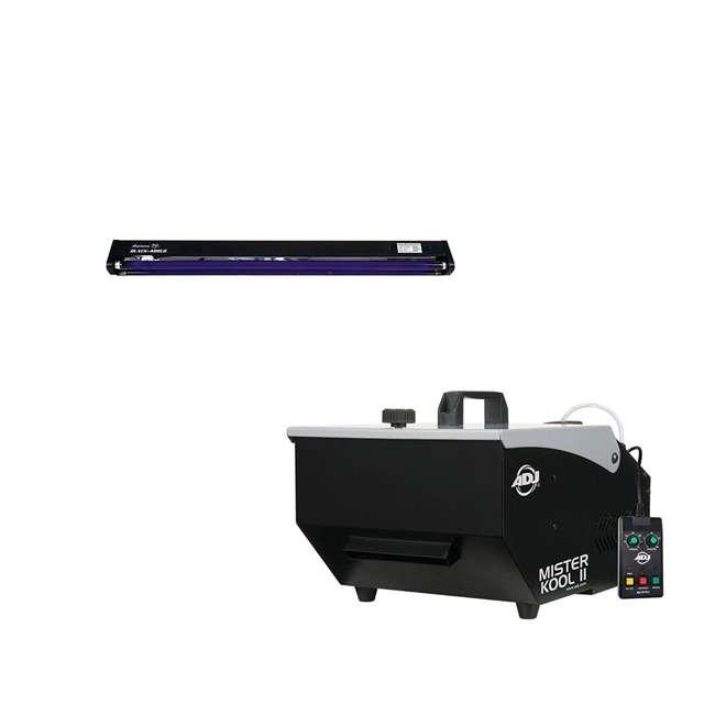 MISTER-KOOL-II + BLACK-48BLB ADJ Mister Kool II Fog Machine & 48 Inch UV Black Pro Tube Light and Fixture