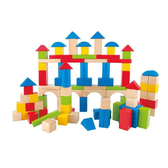 4 x HAP-E0427 Hape Kid's Build Up and Away Wood Blocks Toy Set (4 Pack) 1