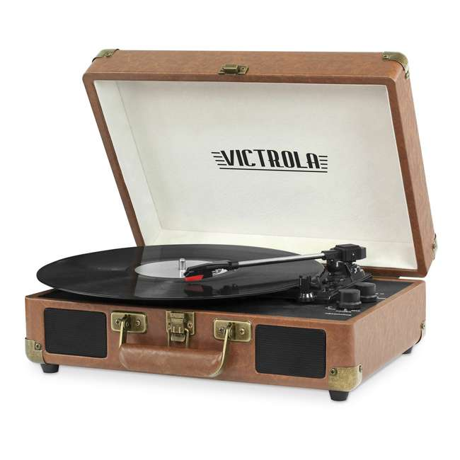 VSC-550BT-BRW Victrola 3-Speed Bluetooth Suitcase Record Player, Brown