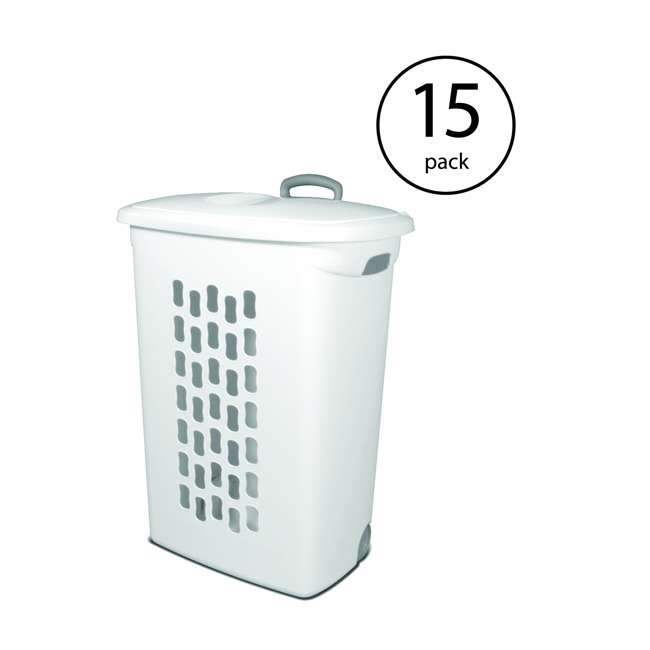 15 x 12228003 Sterilite White Laundry Hamper With Lift-Top, Wheels, And Pull Handle (15 Pack)