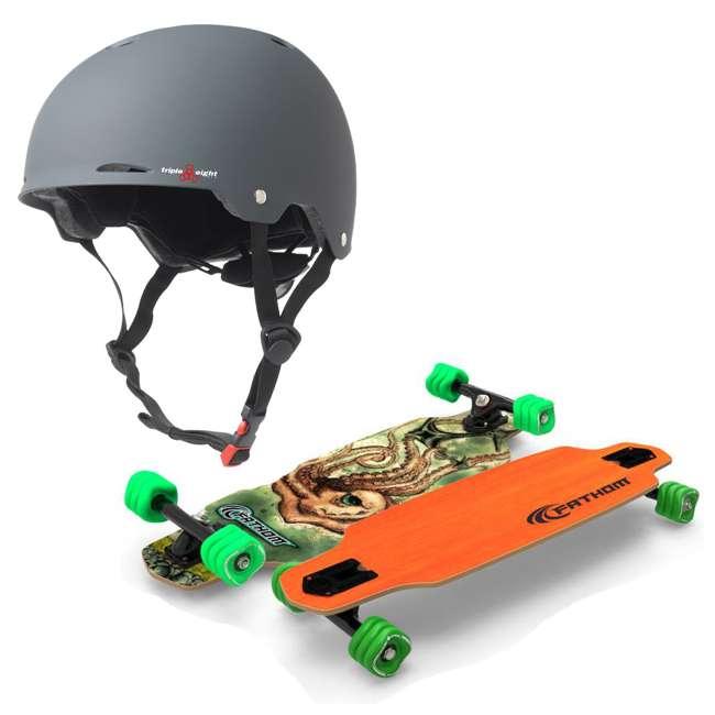 T8-3307 + 08149-SHARK Triple 8 Gotham Bike and Skateboard Helmet, Gun Matte with Fathom Shark Wheel Skateboard