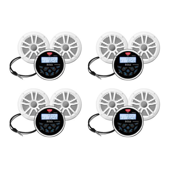 4 x MCKGB350W.6 Boss Gauge Radio + 2 Dual Cone 6.5-Inch 180-Watt Marine Speakers, White (4 Pack)