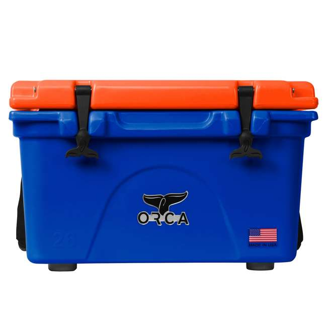 ORCBL/OR026 Orca Roto Molded 26 Quart 24 Can Insulated Ice Chest Cooler, Blue and Orange