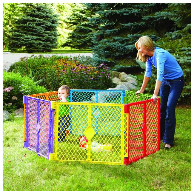 8769 + NS-8910 North States Color 6-Panel Superyard Baby/Pet Gate + Folding ABC Baby Play Mat 6