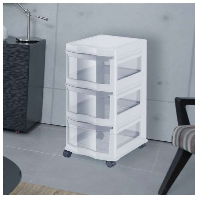 DRW3-M-WH-U-A Life Story 3 Shelf Storage Container Plastic Drawers, White (Open Box) (2 Pack) 4