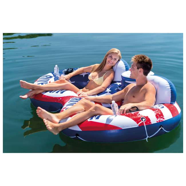 56855VM + 2 x 58854EP Intex American Flag 2 Person Float w/ River Run 1 Person Tube, Blue (2 Pack) 3