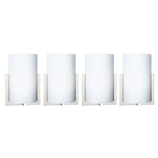 4 x PLC-FL0003836 Philips Forecast 12-Inch Bow 3 Light Wall Sconce, Satin Nickel (4 Pack)