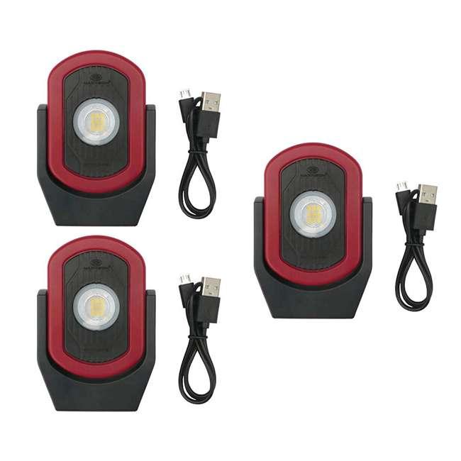 3 x MXN00810 Maxxeon MXN00810 WorkStar Cyclops USB Rechargeable LED Work Light, Red (3 Pack)