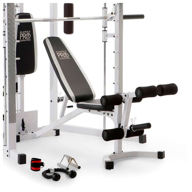 SM-5276 Marcy Combo Smith Strength Home Gym Machine, White 3