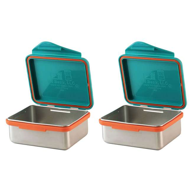 796515002836 Kid Basix 13 Ounce Safe Snacker Lunch Container with Attached Lid, Teal (2 Pack)