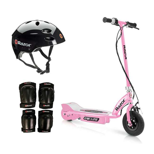 13111163 + 97778 + 96785 Razor Motorized Rechargeable Girls Pink Electric Scooter w/ Helmet & Safety Set