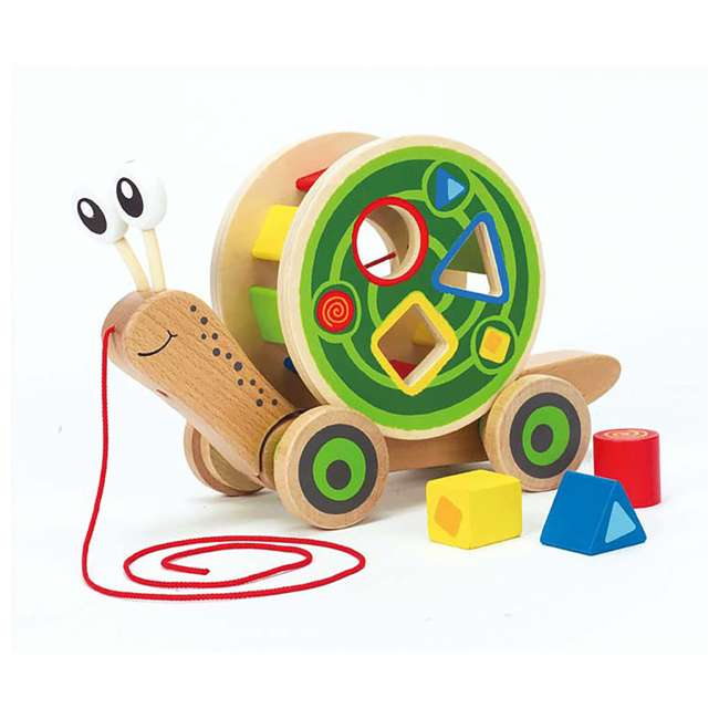 HAP-E0349 Hape Walk-A-Long Snail Wooden Push and Pull Toy