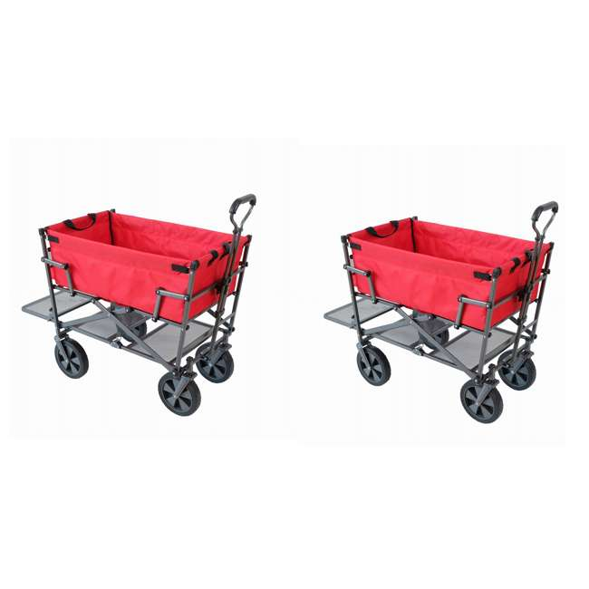 MAC-DD-110-RED Mac Sports Double-Decker Yard Cart Wagon, Red (2 Pack)