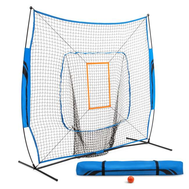 BS100Y19001 Training Equipment Baseball Fiberglass Pitching/Batting Net, Blue and Orange