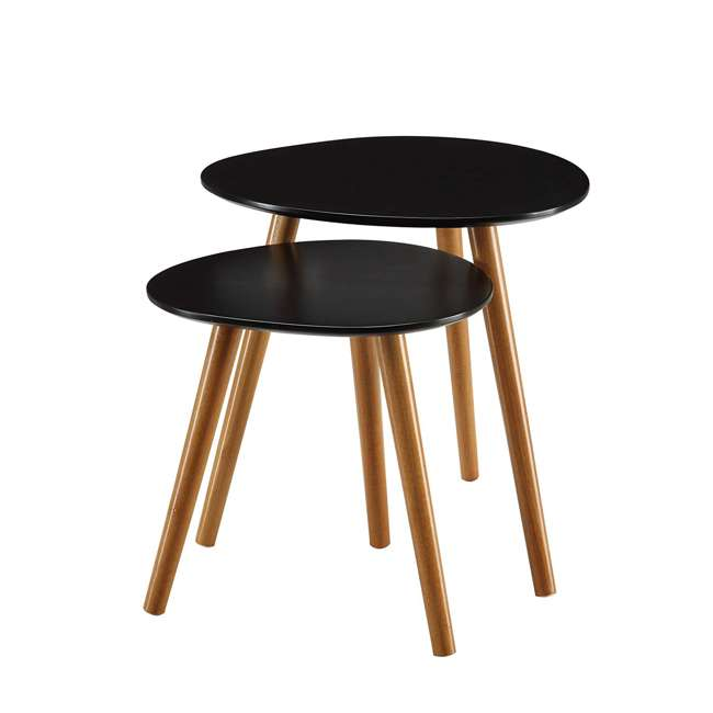 S20-156 Convenience Concepts S20-156 Oslo Modern Study Wood Nesting End Tables, Black