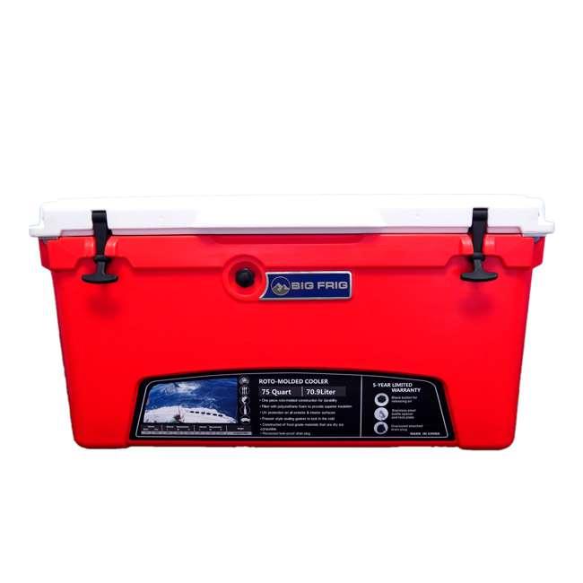 BFDB75-RW Big Frig Denali 75 Quart Insulated Cooler w/Cutting Board and Basket, Red/White 1