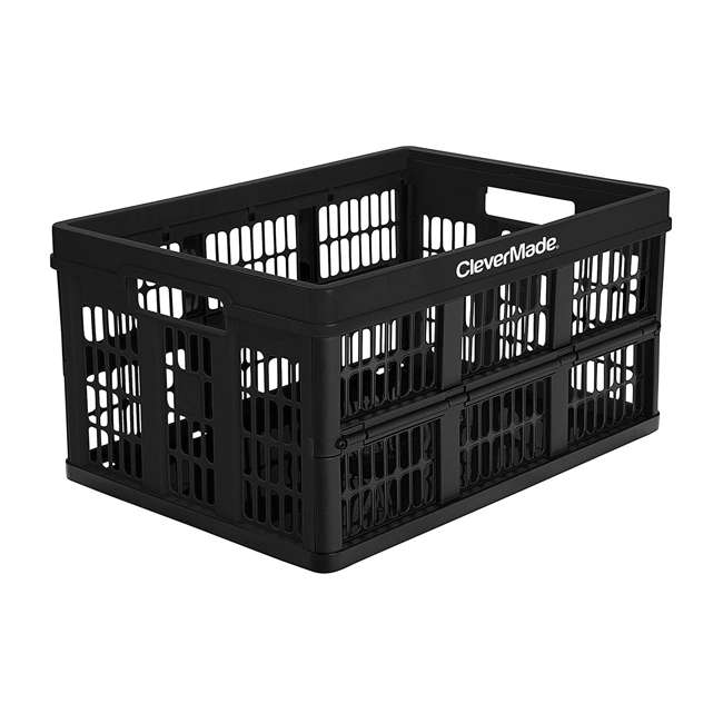 8031165-0063PK CleverMade CleverCrate Plastic 45L Collapsible Storage Bins, Black (3-Pack) 1