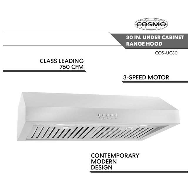 CSMO-UC30 Cosmo UC30 30-Inch Under-Cabinet Range Hood and Over Stove Vent Light, Silver 2