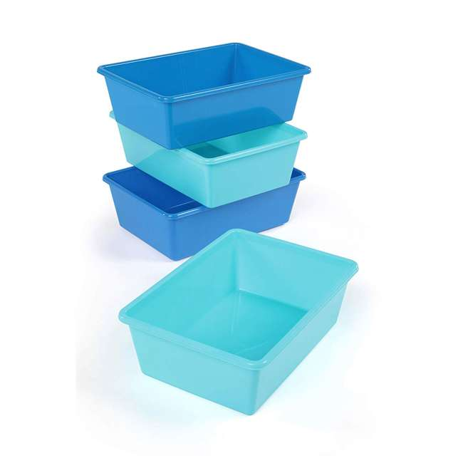 XL104 Tot Tutors XL104 Large Plastic Organization Bins, Blue/Teal (8 Pack) 1