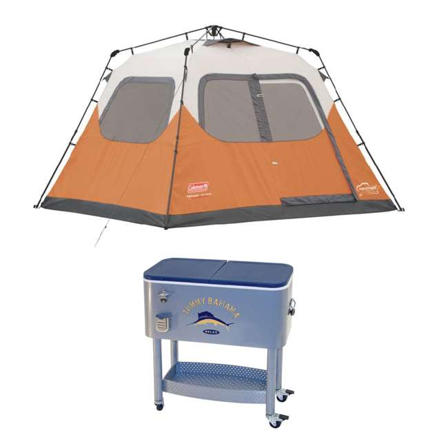 2000017933 + RIORC109TB-61 Coleman Outdoor 6-Person Camping Tent & 77 Quart Rolling Cooler