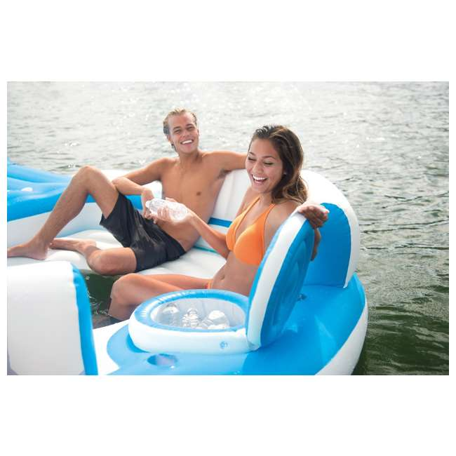 56299EP + 58821EP Intex Island Pool Lake Raft Lounger w/ Inflatable 72 Can Beverage Cooler Float 3