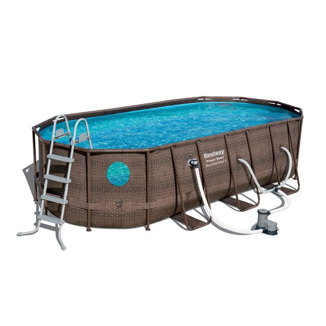 56717E-BW + 58422E-BW Bestway Power Swim Vista 18 x 9 x 4 Foot Pool Set with Pump & Aqua Pool Vacuum